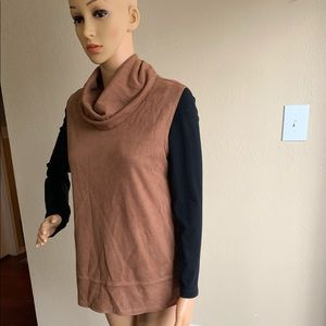 Camel Brown Sleeveless Turtleneck Suede Pullover
